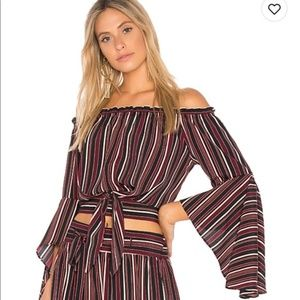 Band of Gypsies Off the Shoulder Stripped Top